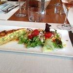 Salmon and broccoli tart.