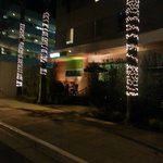 Front of hotel - night