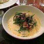 Fish chowder with chorizo