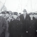 Russian leader Khrushchev together with East German leader Ulbricht at Checkpoint Charlie in 196
