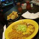 Chicken and cream cheese stuffed chile relleno, with flour and corn chips, tortilla, 2 salsas