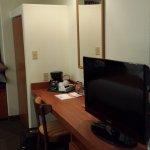 TV, desk, and closet