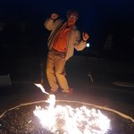 Dancing around the fire ring by the pool (don't ask!)