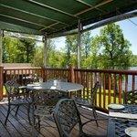 Dinner on the deck overlooking Rangeley Lake