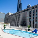 View from Holiday Inn Chicago Downtown pool deck of Willis Tower