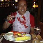 His first lobster dinner in Boston!