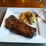 New York Strip with Twice Baked Potatos
