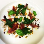 Fresh Italian figs, goats cheese, almonds and vincotto