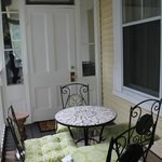 covered outdoor patio area