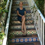 Beautiful tiled steps leading to the piano bar.