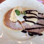 Pancakes, vanilla ice cream, and a coconut cream.