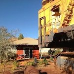 Mining machinery at the back of Newman Visitor Centre next to the chalet