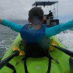 Banana Boat!! Parker pulling our kayak back to He'eia Kea