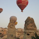 Hot air balloons floating past our room