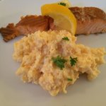 Arbroath smoked salmon and scrambled eggs at breakfast.