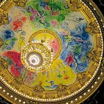Marc Chagall's painted ceiling and the chandelier
