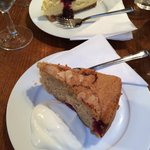 Delicious warm raspberry and almond cake, and cheesecake