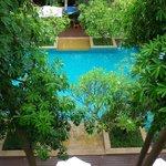 Aussicht von unserer Terrasse auf den Pool Bereich.