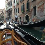 Passing another gondola on the canal