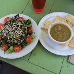 Grains and Greens salad with lentil/pea soup