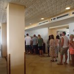 Queue for tea or coffee at breakfast