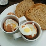 Supposedly soft boiled eggs in Espresso cups...