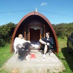 View of our Pod with us on the decking.