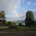 view from patio (with rainbow!)