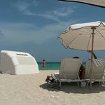 Umbrellas are 19$/day but sun beds and towels are included at the Raleig