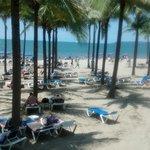 En el limite del hotel y la playa...