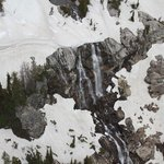 Flying down Cascade Canyon sideways taking waterfall pictures.