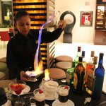 Flaming coffee in Lobby Bar.