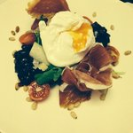 Parma Ham, Poached egg and Red onion chutney Salad