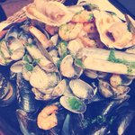 Fruits de mer sur pierre chaude