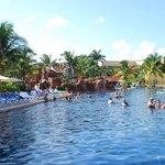 Cliff jump pool. Large, swim up bar