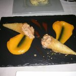 Salmon tartare with carrot puree