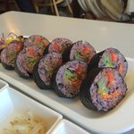 "Rice Rolls with ""Purple Rice"", a combination of rices and barley."