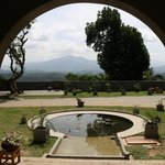View from the entrance porch out to the mountains