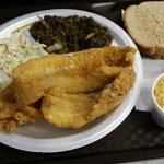 Whiting Platter with cole slaw, turnip greens & squash casserole