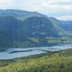 Lake Bohinj from halfway up/down the cablecar ride