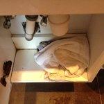 A notre arrivée dans l'armoire de la salle de bain