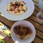 Shrimp & Grits, Cinnamon bun, Factory Tavern Brunch, Stonington, ME, August 23, 2014