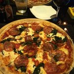 Sausage & Spinach pizza with extras