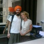 Our Russian guest wearing a Sikh Turban to vist the Holy Golden Temple... Respect...