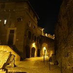 Romantic and spooky atmosphere at night walking almost alone through Castel Sant'Angelo