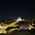 View at St. Peter's Basilica from the top of Castel Sant'Angelo at night