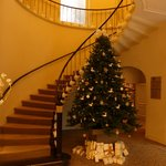 Main staircase, done up for Christmas