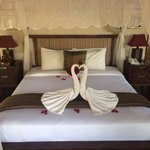 Our bed on arrival! Very sweet!