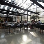 The restaurant is converted by an old greenhouse