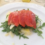 Smoked Salmon with Parmesan, rocket and apple